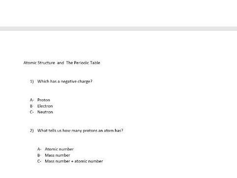 GCSE Chemistry - Introduction multiple choice