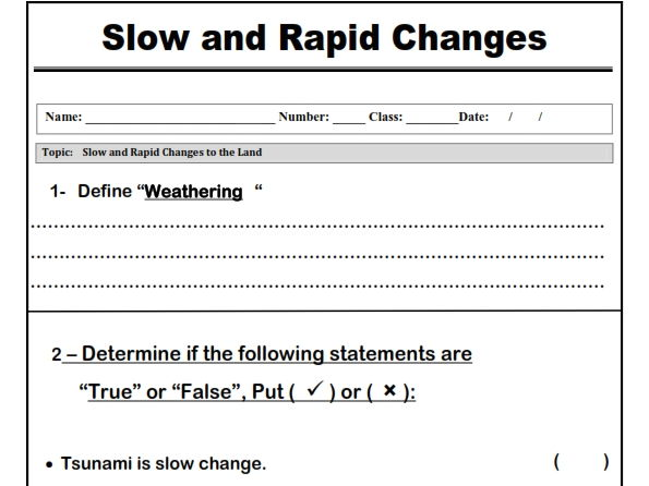 "Slow and Rapid Changes "" Worksheet"""