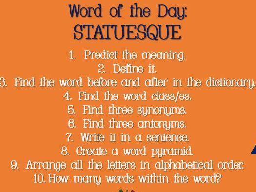 UPKS2 / KS3 Daily Stater Activity -  To encourage vocabulary skills.