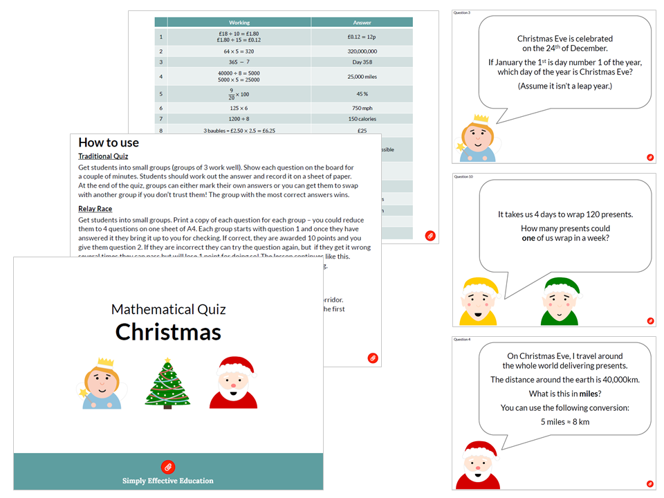 Christmas Maths Quiz/Relay/Treasure Hunt