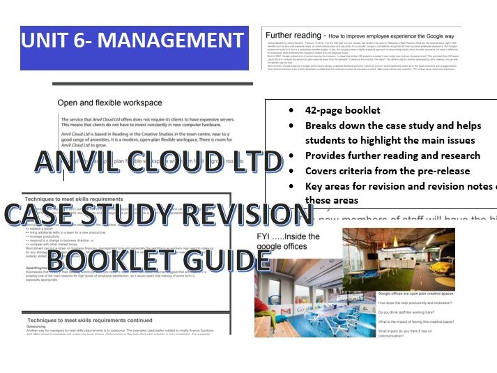 Unit 6 Principles of Marketing Part A January 2019 Anvil Cloud Ltd Case Study/Revision Guide Booklet