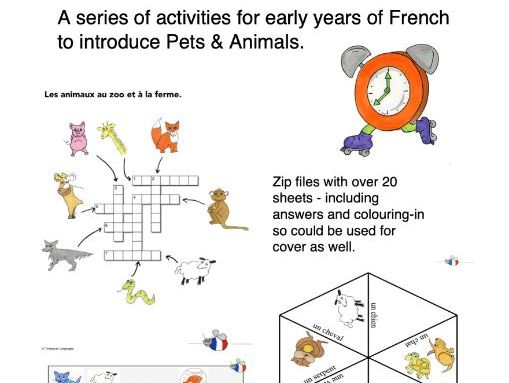 Pets Animals French - Presentation and Bundle of Games and Worksheets. Les Animaux