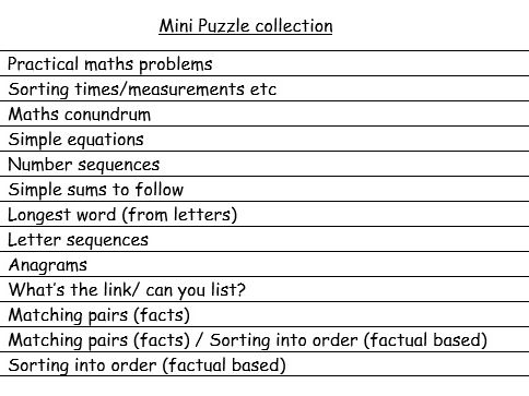 Mini puzzles collection