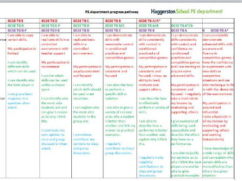 Progress pathway level descriptors