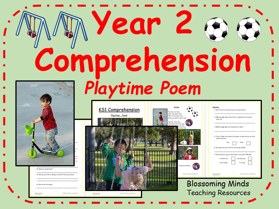 Year 2 poetry comprehension - School theme (playtime)