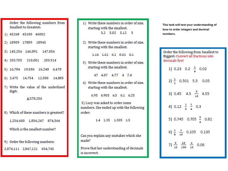 A Worksheet on Ordering Decimals  (2)