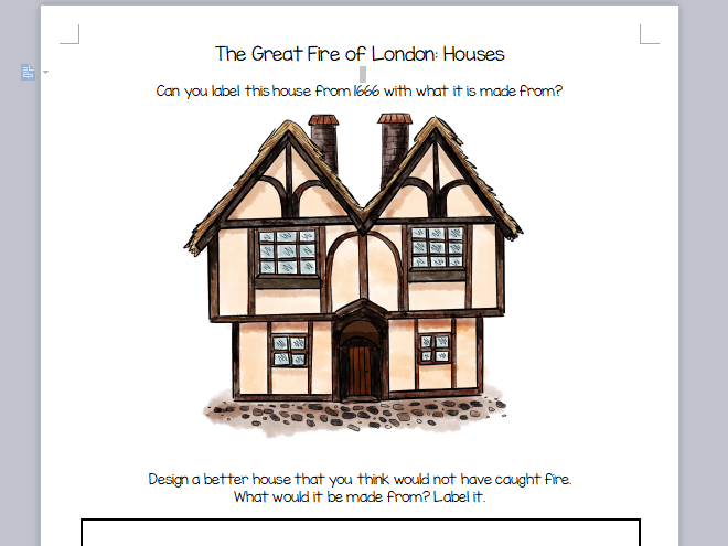 Two KS1 Great Fire of London Worksheets, DT and History looking at Houses in 1666