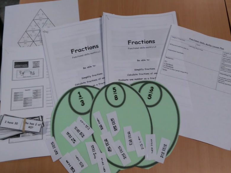 Fractions. Functional Skills Maths Level 1 and Level 2 lesson. 2  workbooks differentiated