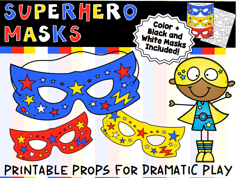 photograph regarding Printable Superhero Masks identify Printable Superhero Masks for Remarkable Engage in, Shade + BW Styles Integrated