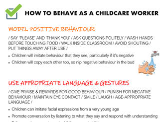 'How to behave as a childcare worker' poster