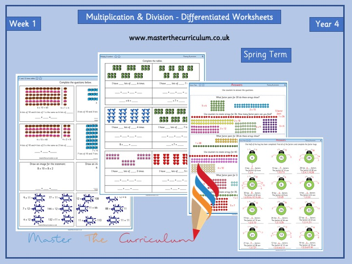 Year 4 – Week 1–Multiplication & Division Differentiated Worksheets- Spring -White Rose Style