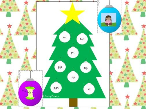 Phonics Phase 2 Christmas Tree Bingo