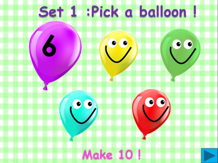 Balloon pop  - Make 10 ! (A number bond game)