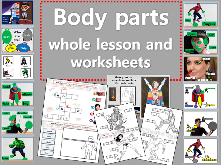 Body Parts (superhero theme) whole lesson and worksheets TEFL EFL