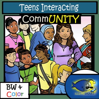 CommUNITY High School Teens Interacting: 14 pc. Clip-Art Set! BW & Color