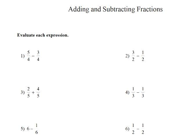 GCSE maths adding and subtracting fractions worksheet