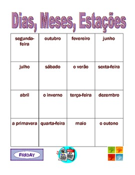 Dias, Meses, Estações (Days, Months, Seasons in Portuguese) Bingo