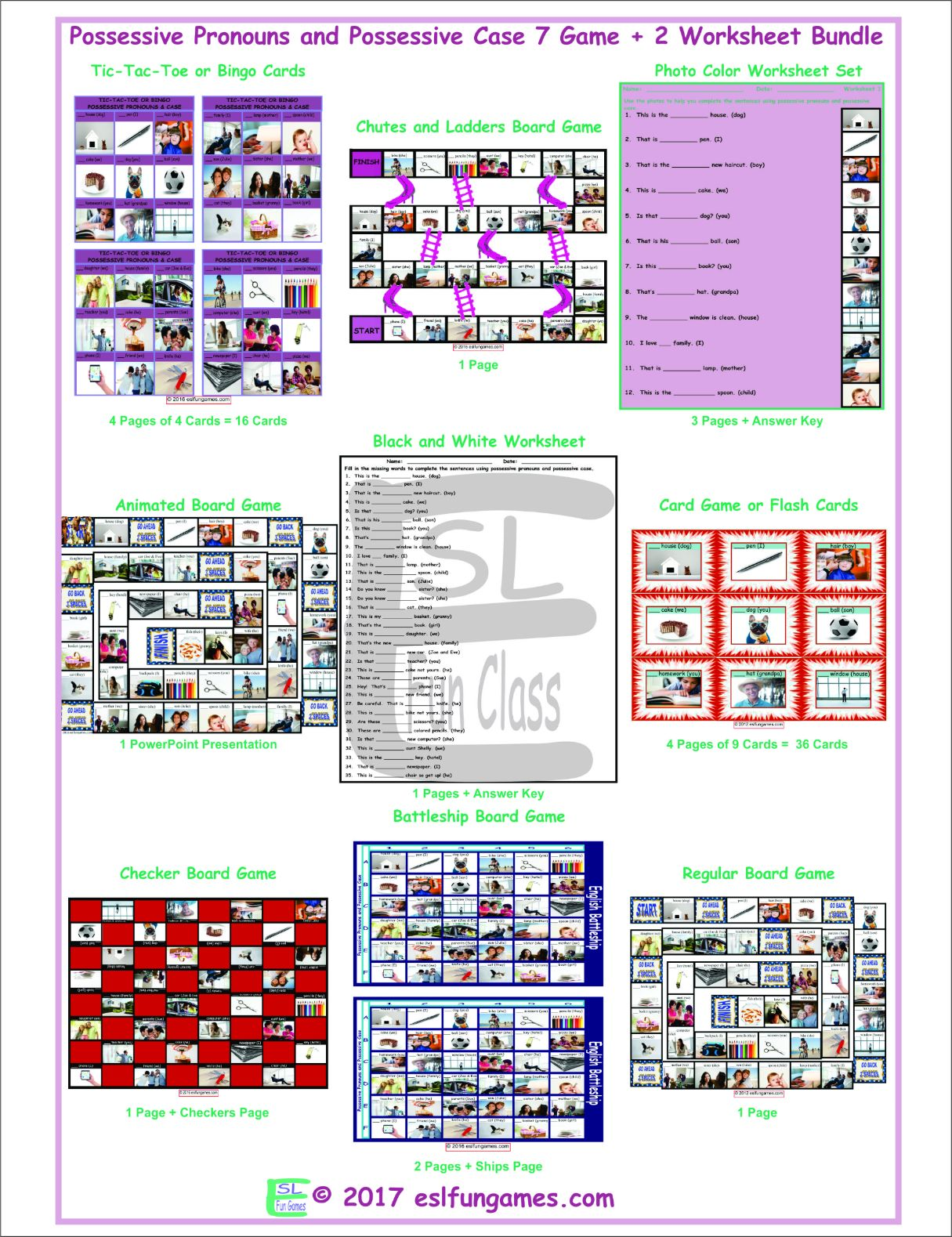 Possessive Pronouns and Possessive Case 7 Game Plus 2 Worksheet Bundle