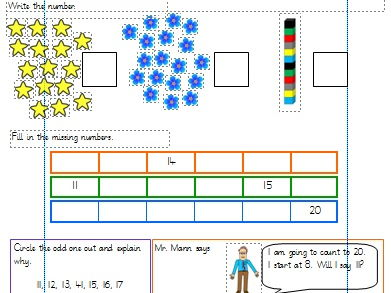 Count and Write Numbers to 20 Differentiated Worksheets Year 1. (White Rose)
