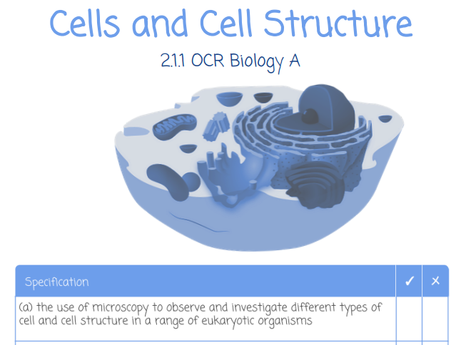 Cells and Cell Structure Student Workbook