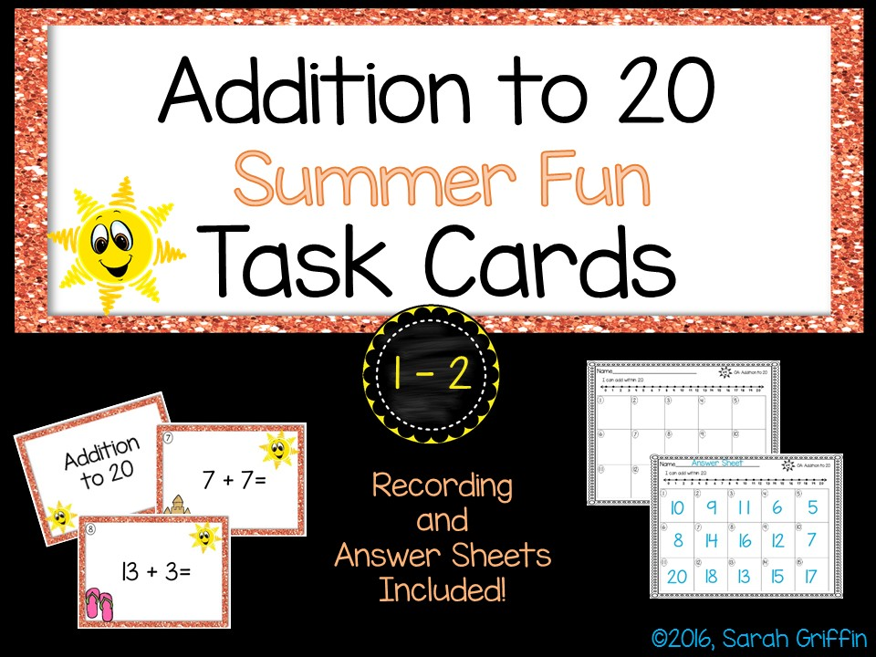 Math Task Cards - Addition to 20 - Summer Theme SCOOT