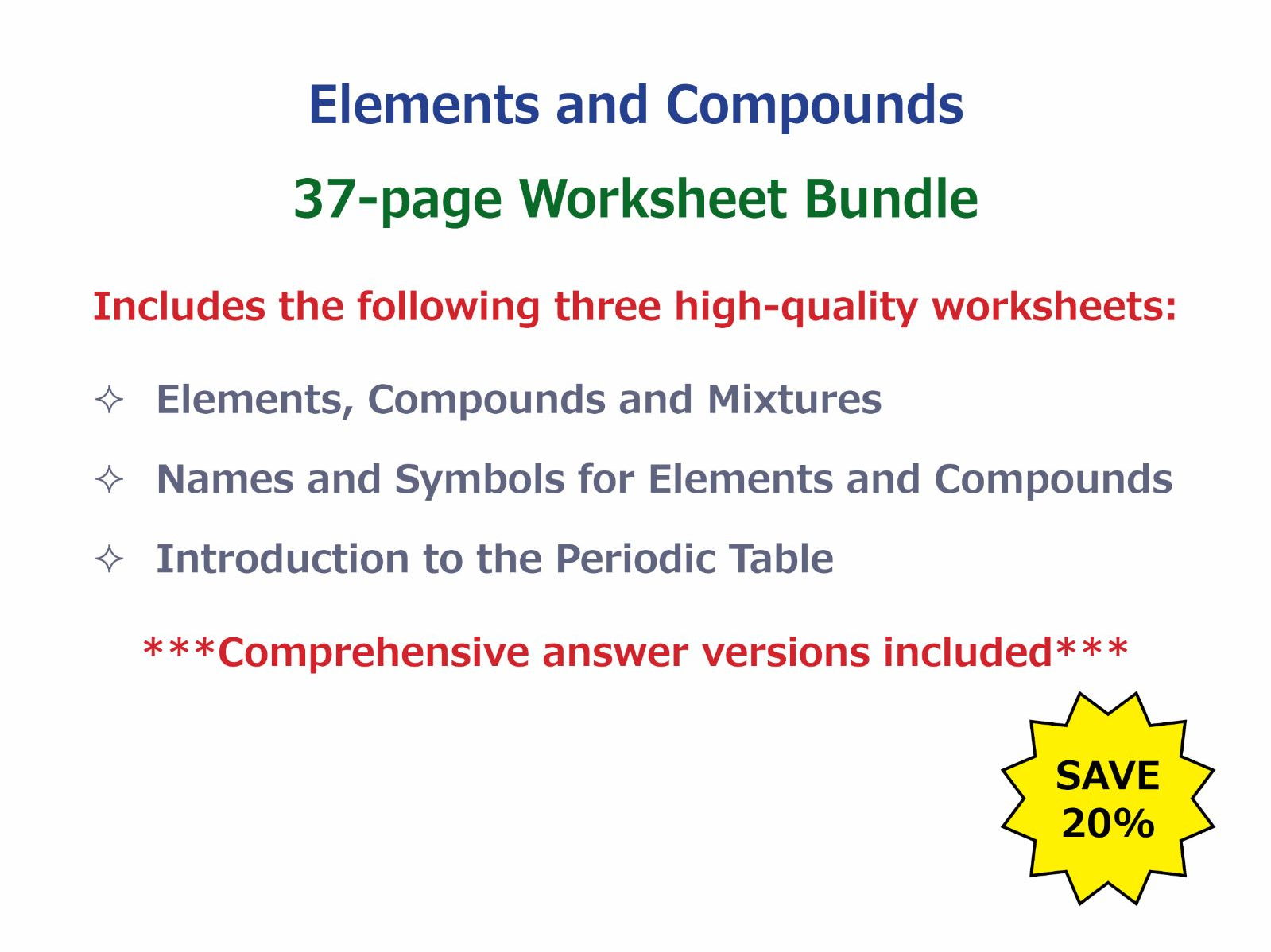 Elements Compounds and Mixtures Worksheet by – Mixture Worksheet