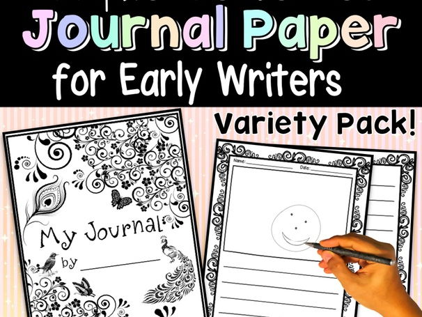 Journal Paper for Early Writers, Writing Paper Journal Covers & Alphabet Charts