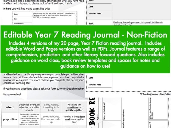 Year 7 Reading Journal / Diary- Non-Fiction: Editable Version