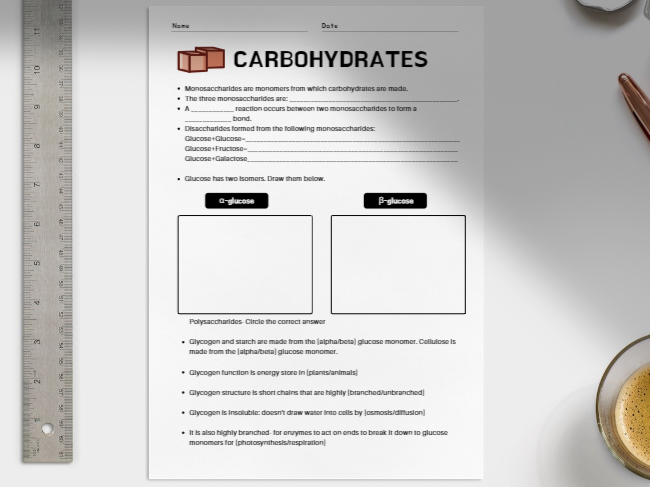 Carbohydrates: A/A* Level worksheet for AQA A Level Biology specification.
