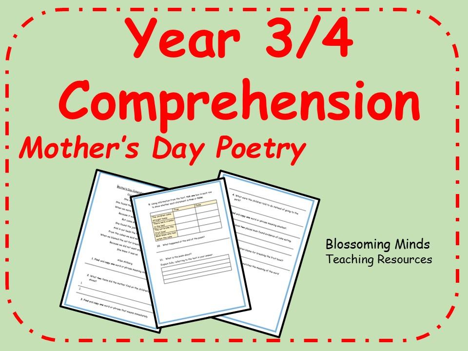 Key Stage 2 comprehension - Mother's Day Poem