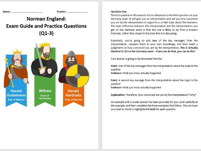Norman England Exam Guide and Practice Questions (AQA 9-1)