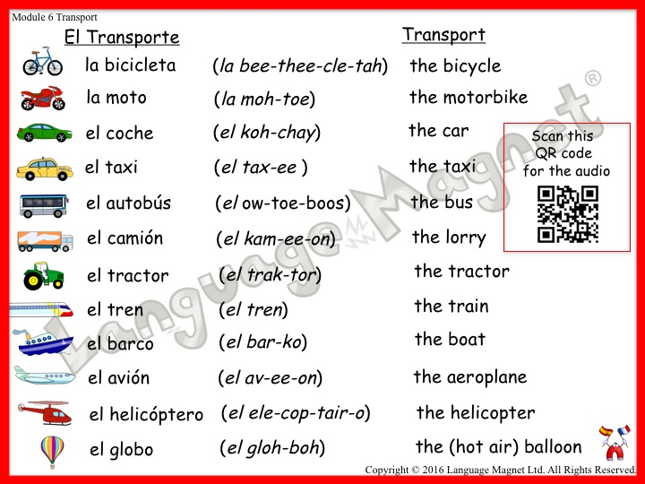 Spanish Transport Audio Vocabulary Sheet