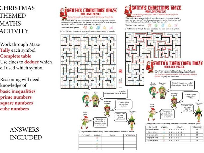 CHRISTMAS MATHS RELATED MAZE & LOGIC PUZZLE +ANSWERS