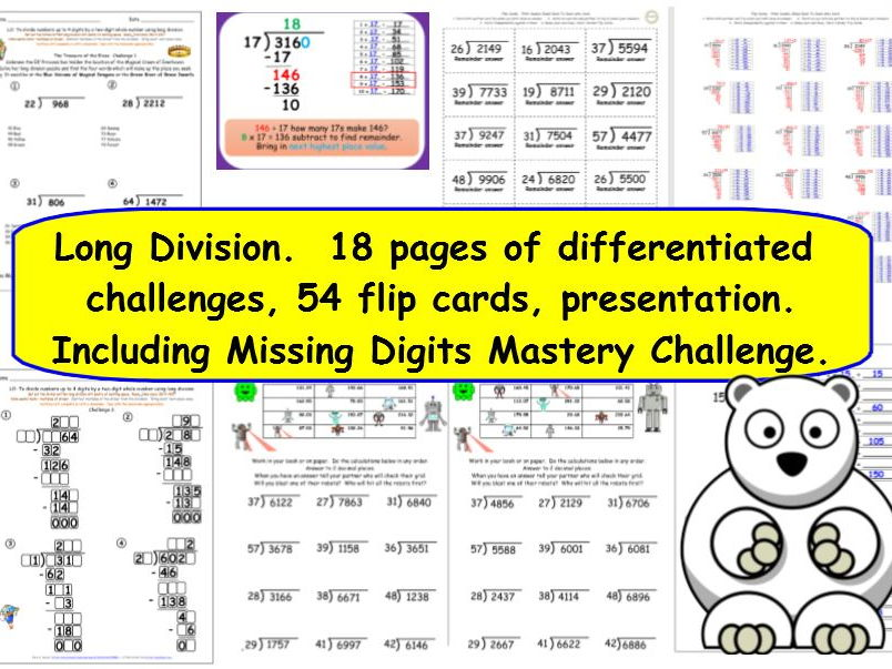 Long Division Y6 - differentiated challenges inc. missing digits, word problems, presentation