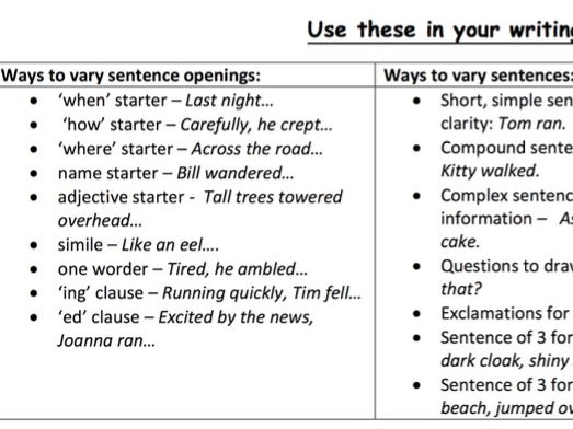 How to  vary sentences