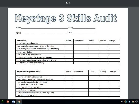 Key Stage 3 Dance Skills Audit