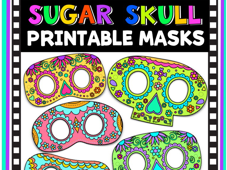Printable Sugar Skull Masks,  Color + B&W Versions Included, Day Of The Dead, Dia De Los Muertos