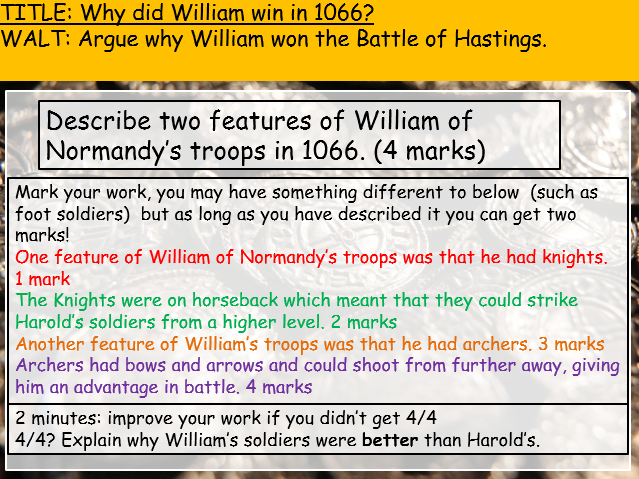 Norman Conquest (Edexcel history 9-1) Why did William win the Battle of Hastings?