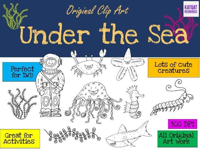 Under the Sea Clip Art - Black line drawings