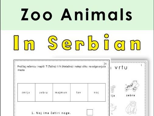 Serbian Zoo Animals Latin Alphabet