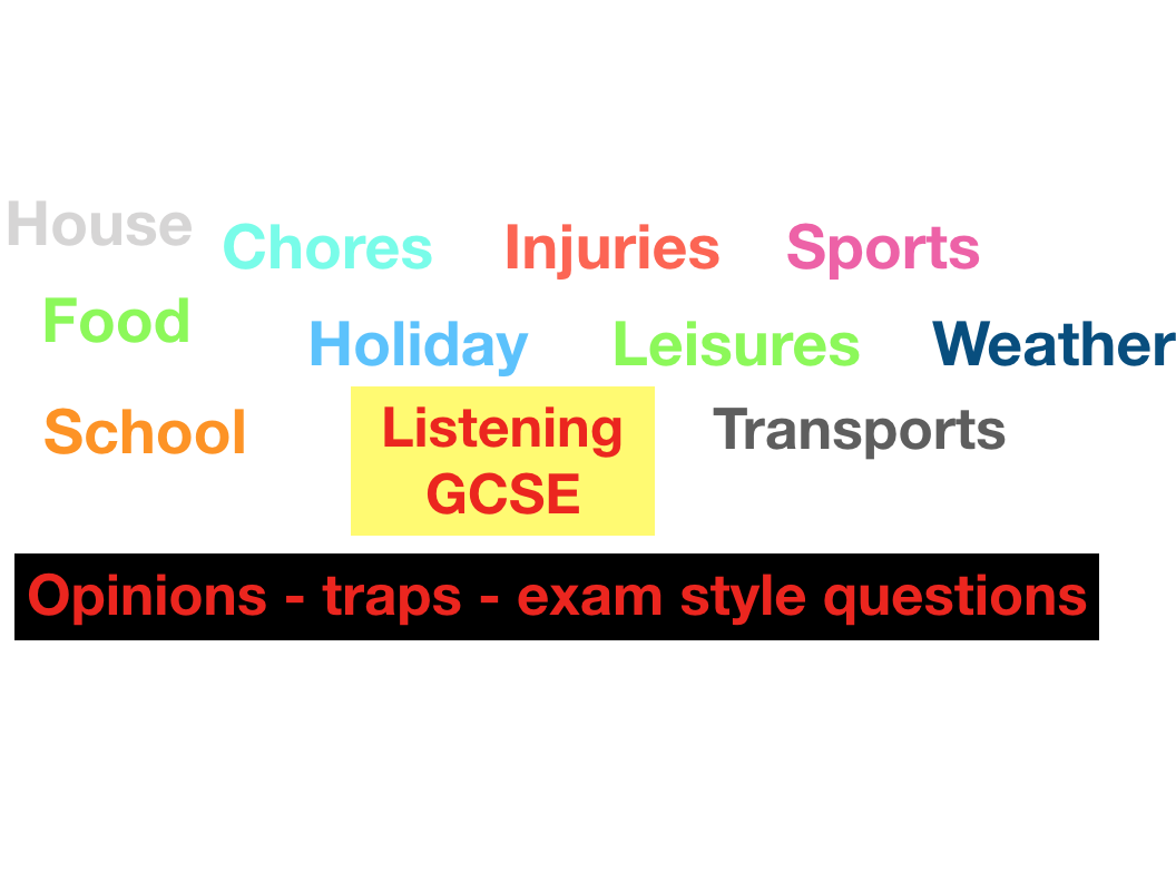 GCSE - French - Listening - opinions - traps - 10 topics (worth £12)