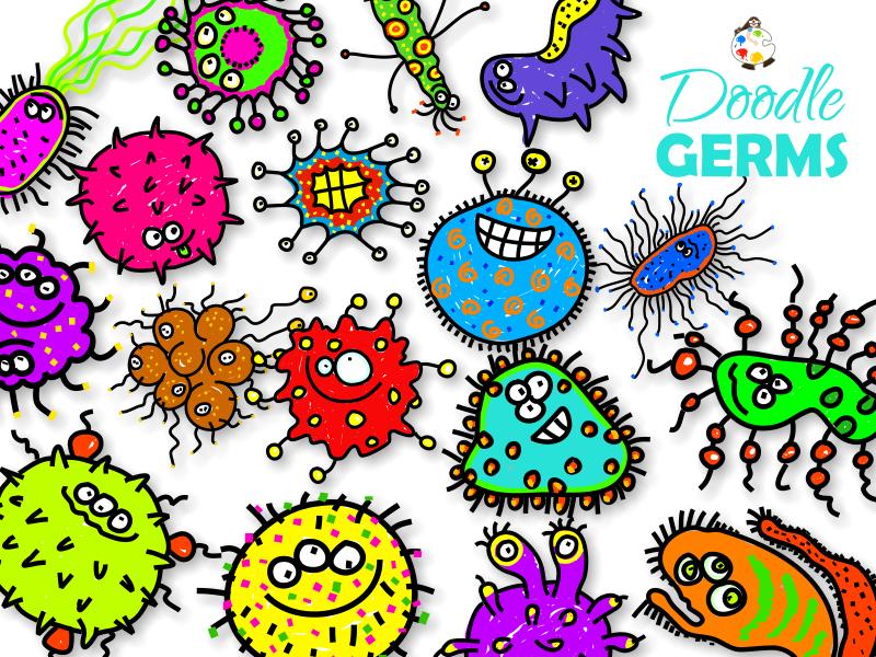 Doodle Germ Cartoon ClipArt Collection
