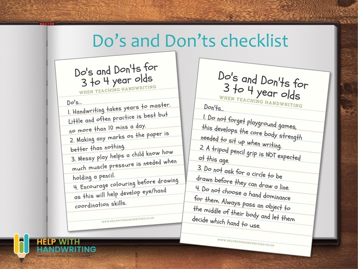Do's and Dont's on how to teach handwriting 3 to 4 years
