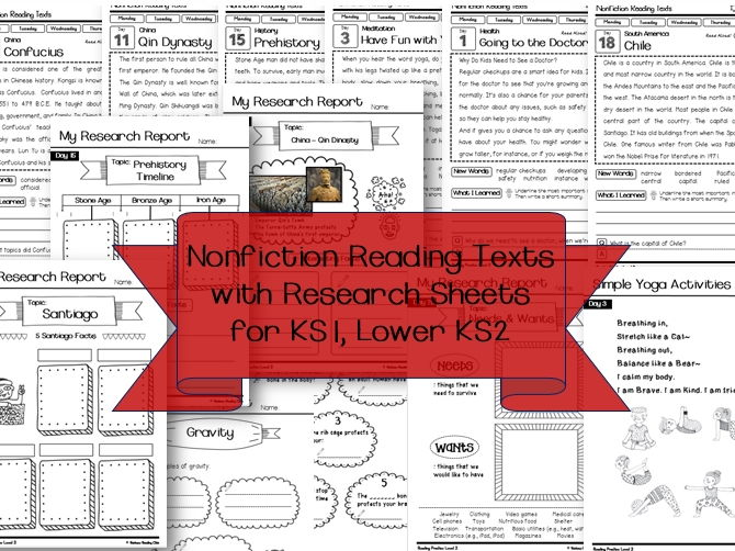 Nonfiction Reading Texts with Research Sheets ( Science & History ) for KS1,  Lower KS2 and ESL, EFL