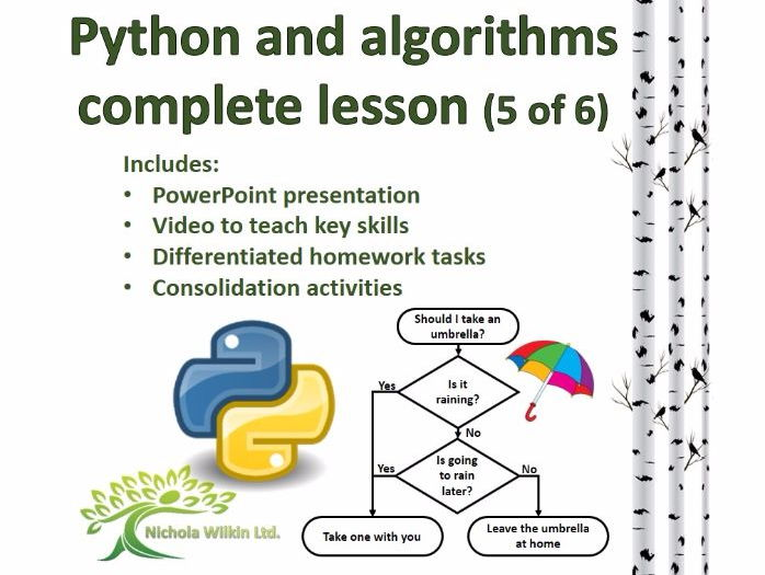 Python and Algorithms Complete Lesson 5 of 6 (GCSE Computer Science and KS3 Computing)