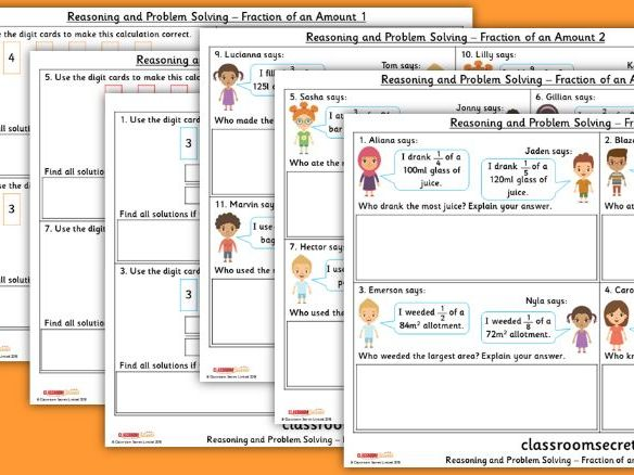 Year 5 Fraction of an Amount Spring Block 2 Reasoning and Problem Solving Pack
