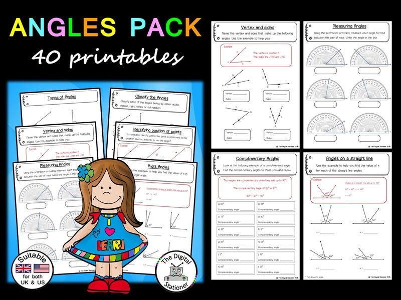Angles (suitable UK/US)  - 40 printables