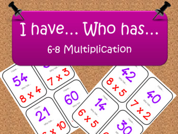 Multiplication 6-8 tables Game: I have... Who Has...