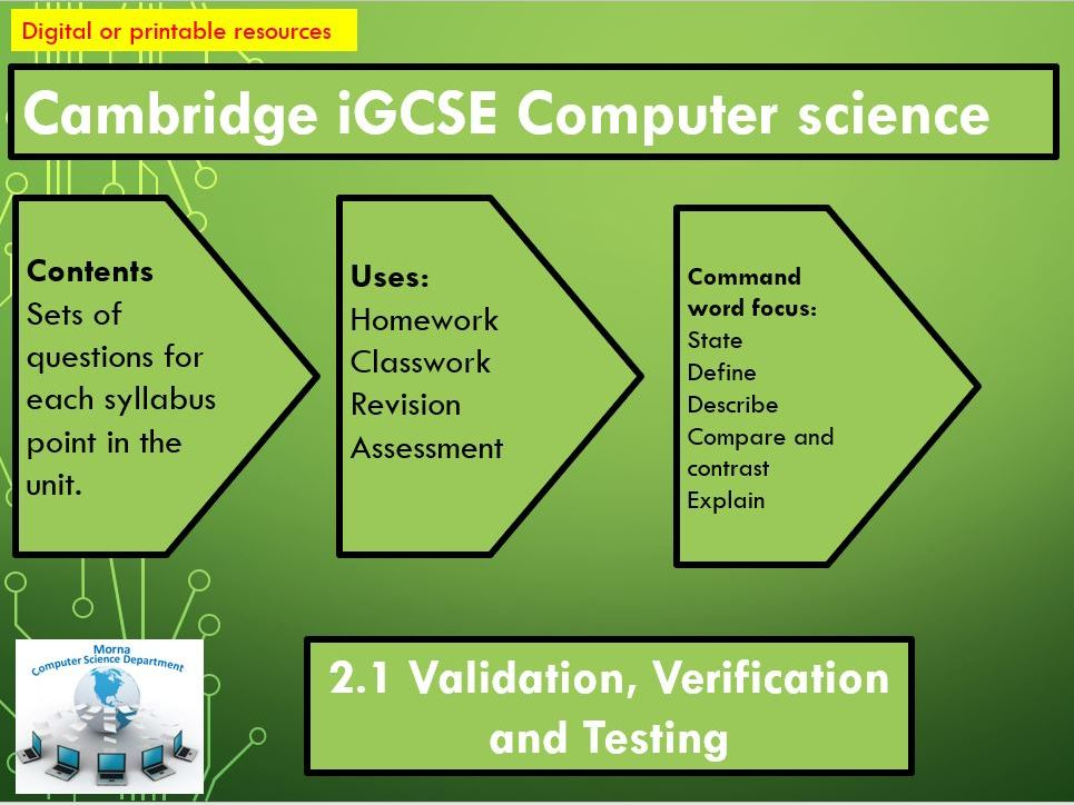 iGCSE Computer Science Revision Activities Unit 2.1 Validation, verification and testing