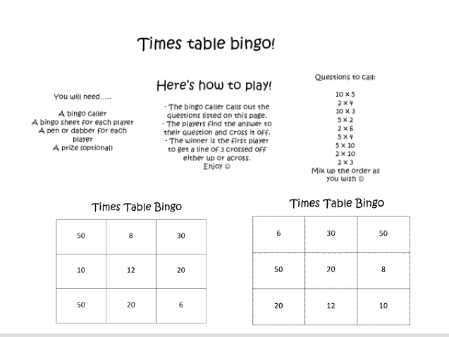 Times Table Bingo 2, 5 and 10 Times Tables